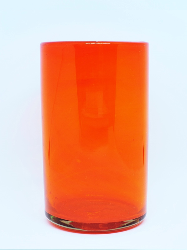 MEXICAN GLASSWARE / Solid Orange drinking glasses (set of 6)